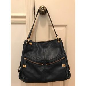 "Michael Kors ""Layton"" navy blue leather hobo bag"
